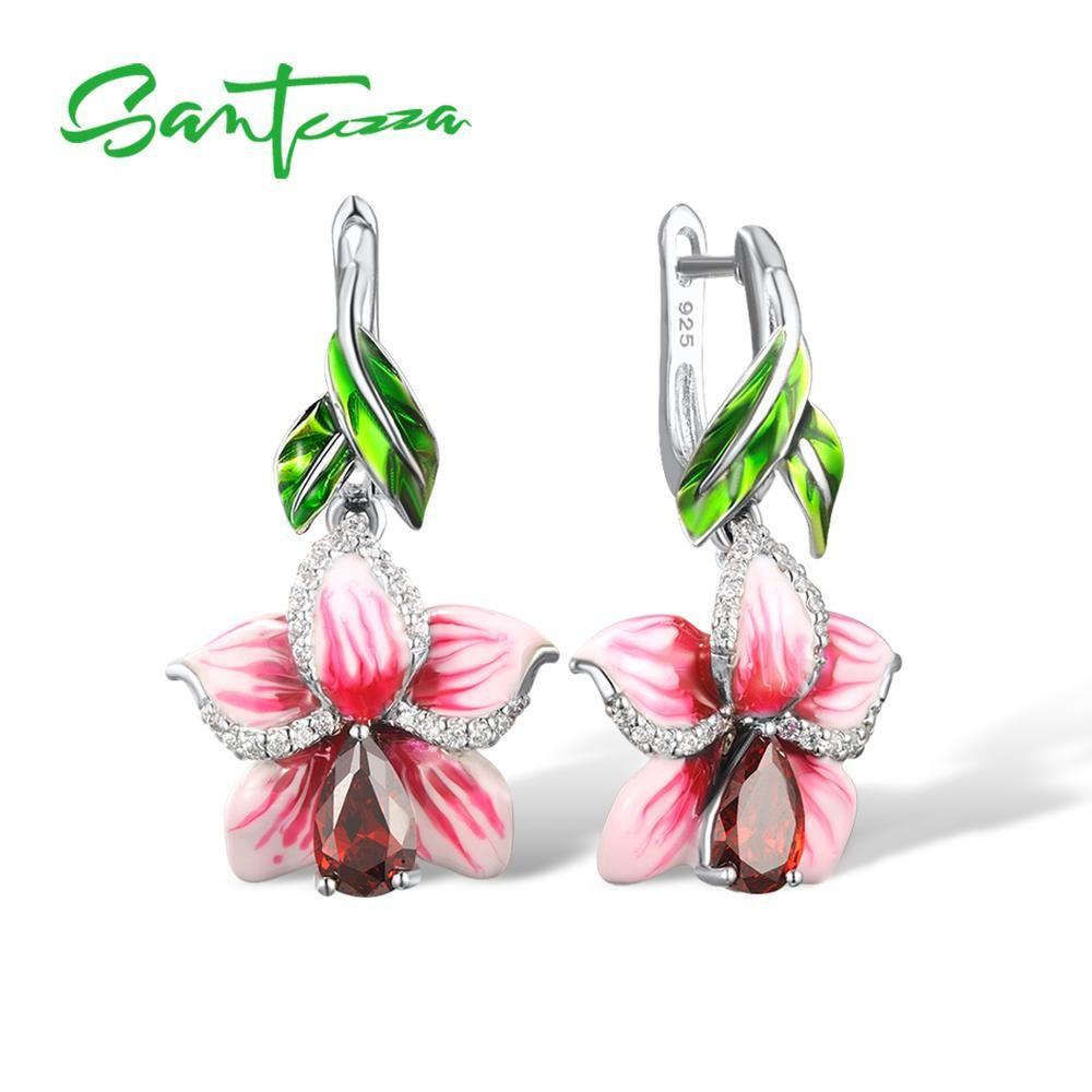 SANTUZZA Silver Earrings For Women 925 Sterling Silver Dangle Earrings Long Silver 925 Cubic Zirconia brincos Jewelry Enamel