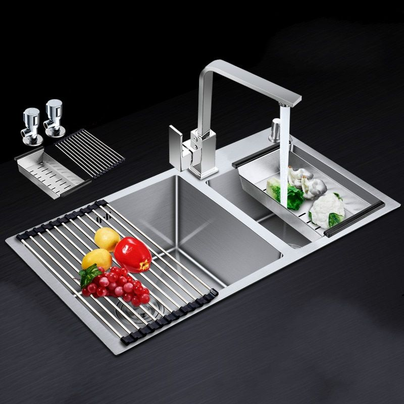 Free shipping Standard fashion kitchen sink handcraft double groove durable standard hot sell 72x40/75x41/78x43/81x43 CM
