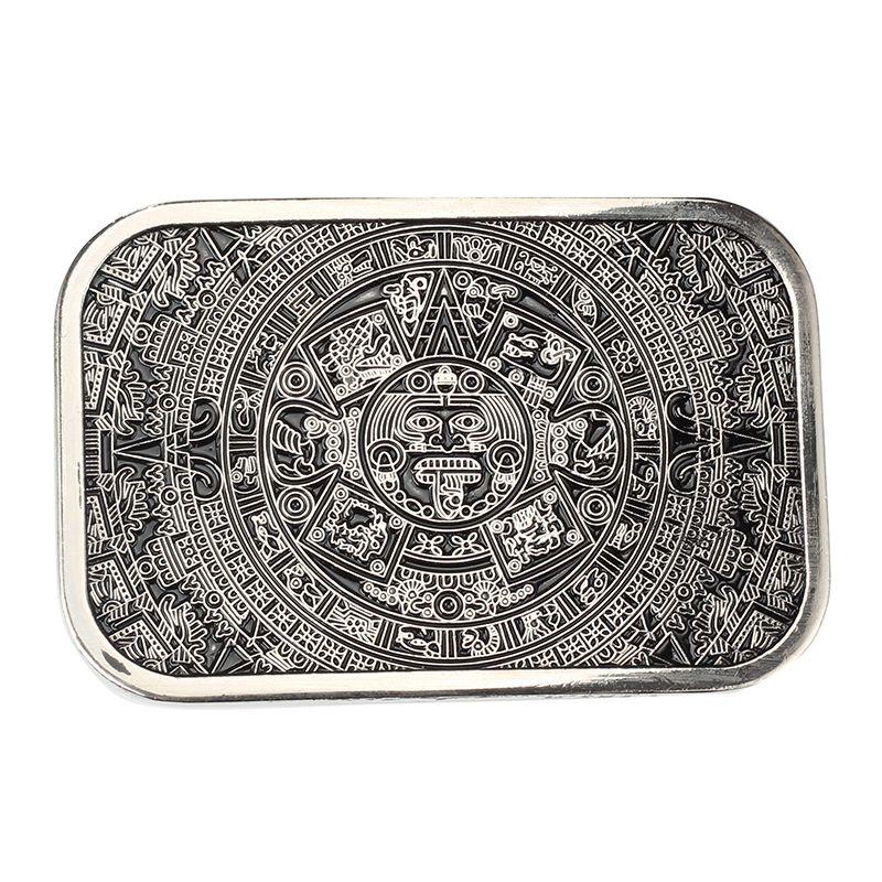 Haute qualité cool aztèque calendrier hommes métal ceinture boucle fit 3.8 cm large ceinture Jeans accessoires