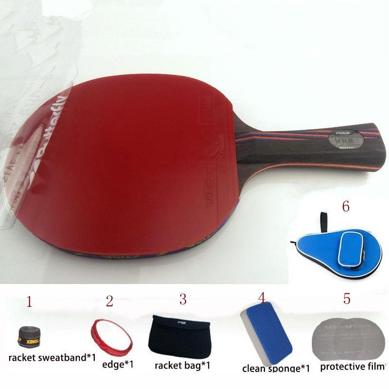 Tischtennisschläger WRB 7,6 pat set 6 freies geschenke lange griff kurzen griff professionelle kohlefaser tischtennisschläger