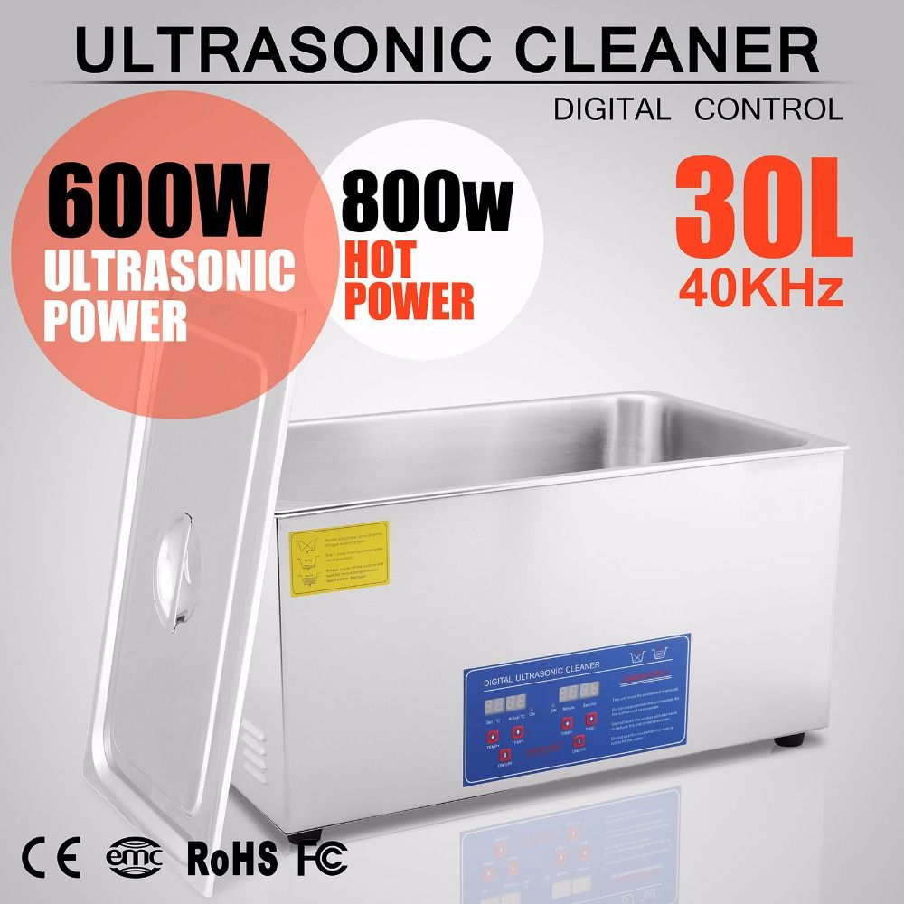 110V 600W 30L Large Capacity Ultrasonic Cleaner Stainless Steel Cleaning Appliance with Mesh Basket