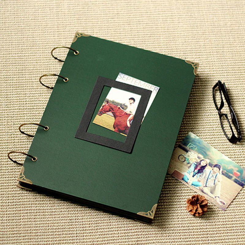 Dar green diy photo album /photo scrapbook album /Graduation record shcool stationery