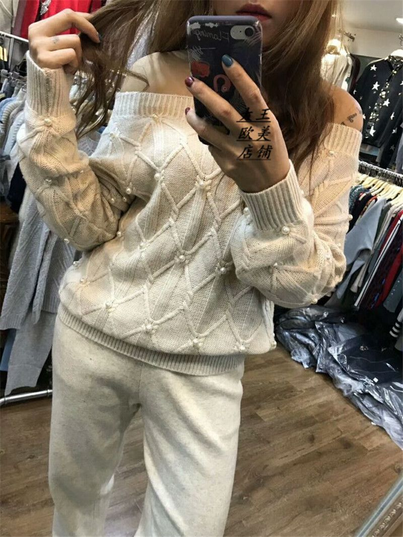 Winter Woolen and Cashmere Knitted warm Suit slash neck diamond Sweater + Mink Cashmere Trousers Leisure Two-piece wj1596