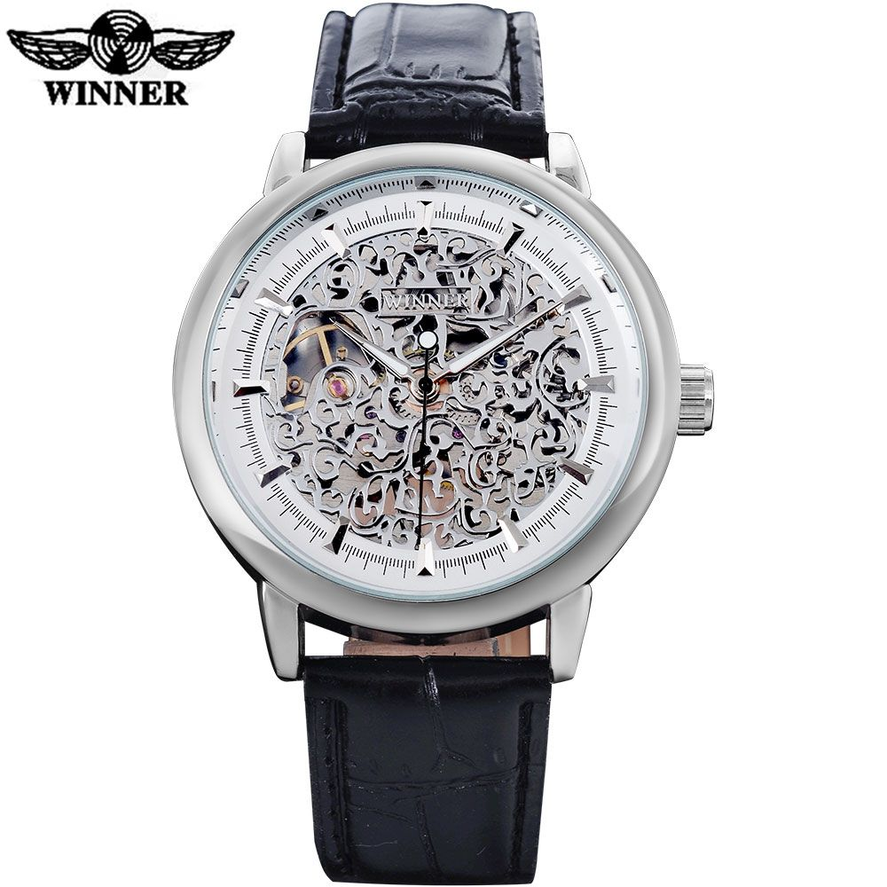 WINNER <font><b>luxury</b></font> brand fashion sports mechanical watches leather strap men's hand wind skeleton silver case watches reloj hombre