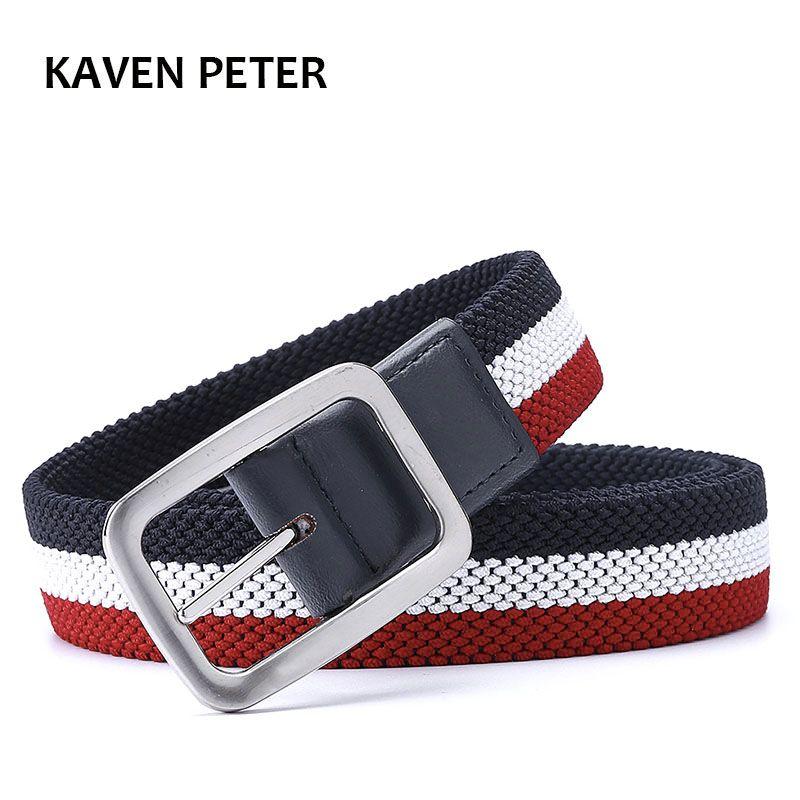 Mode la nouvelle ceinture de luxe Gentleman sans trous ceinture réversible élastique pour hommes avec ceinture en toile tissée extensible de couleur mélangée