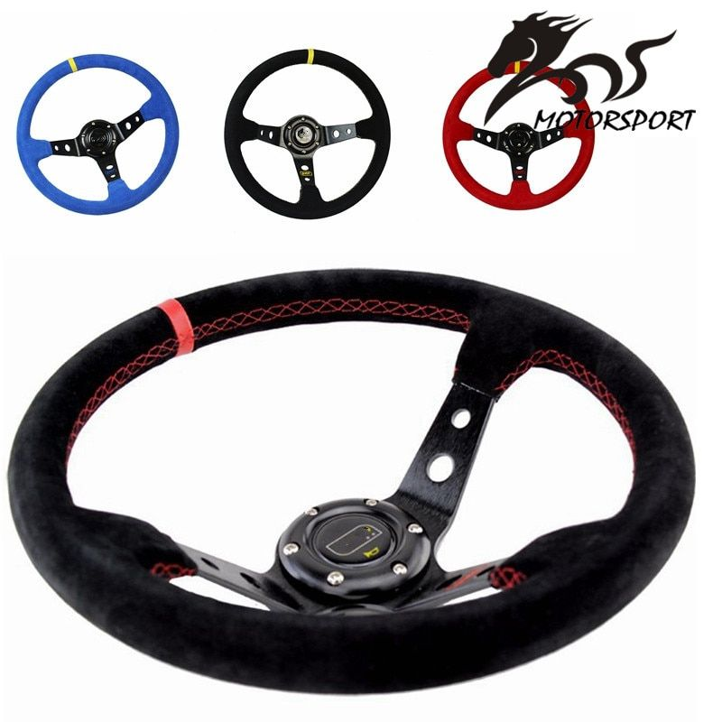 Stormcar 14inch 350mm OMP Deep Corn Drifting Steering Wheel / Suede Leather Steering wheels