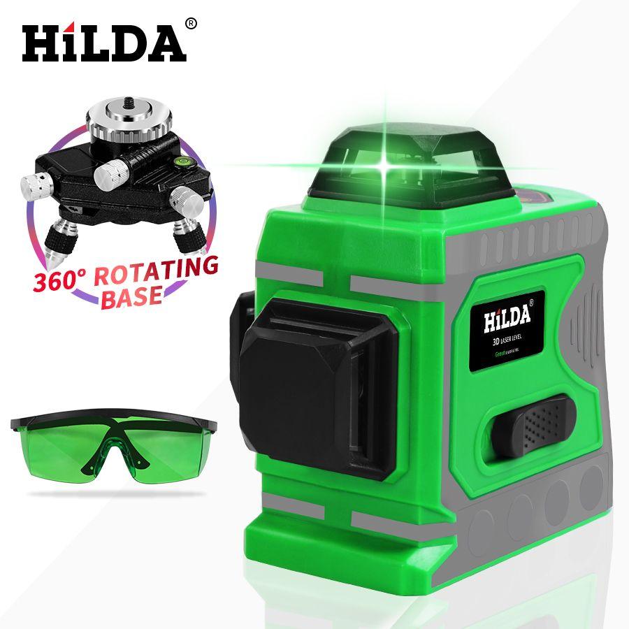 HILDA niveau Laser vert 12 lignes niveau 3D auto-nivellement 360 croix horizontale et verticale niveau Laser vert Super puissant