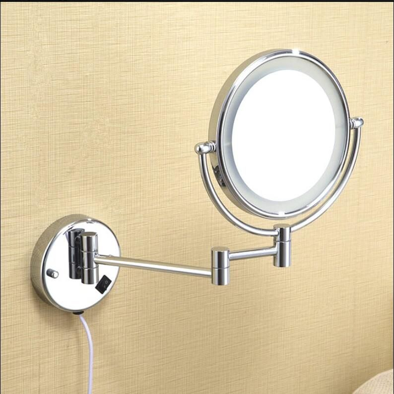 Wall Mounted Dressing Mirror 8 inch two side 3X /1X Magnifying Mirror LED Mirror Folding Makeup Mirror Cosmetic Mirror Lady Gift