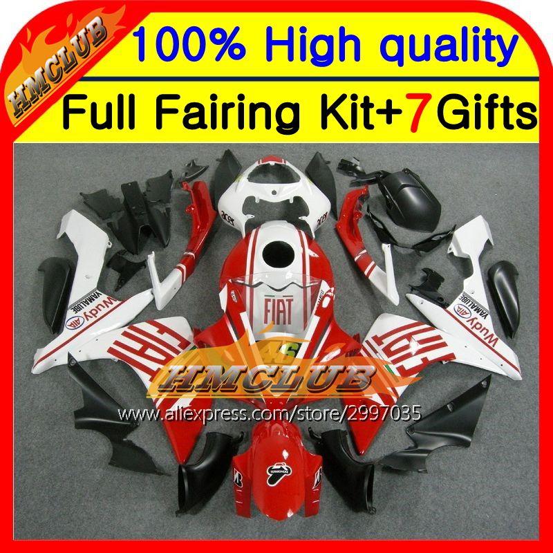 Body !Red Good Kit For YAMAHA 07-08 YZF-R1 YZF1000 YZF R1 07 08 HM10243 YZF 1000 Red white Good YZFR1 07 08 2007 2008 Fairing