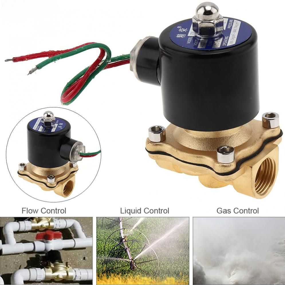 DN15 1/2 AC 220V Brass Electric Solenoid Valve <font><b>Pneumatic</b></font> Valve for Water / Oil / Gas