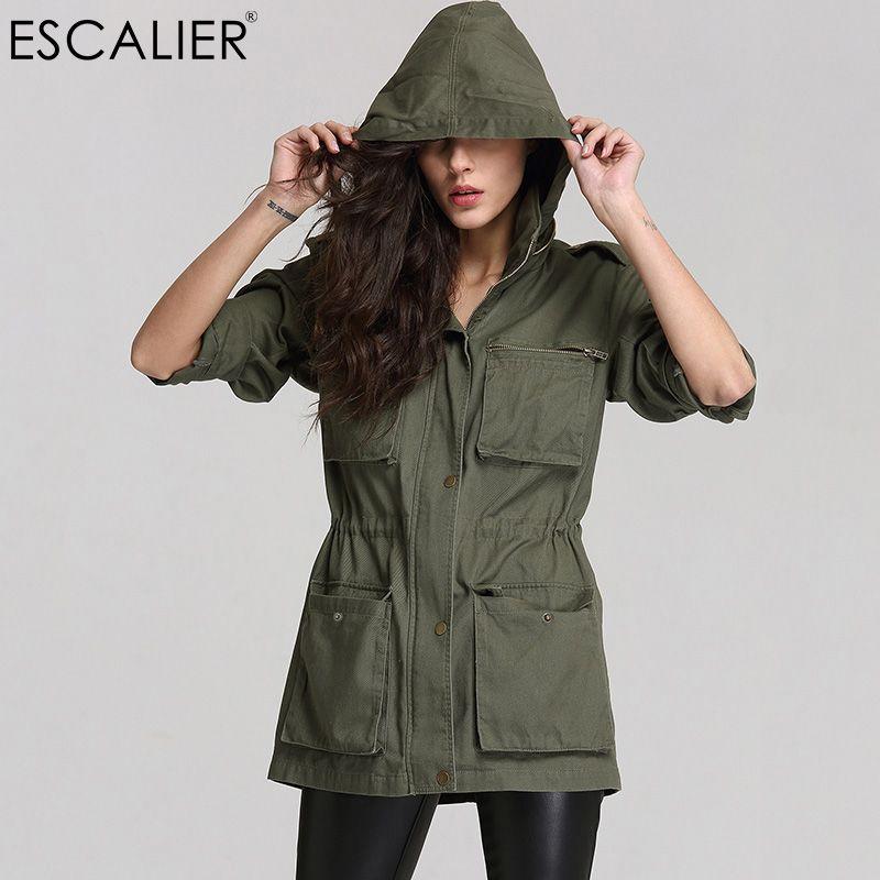 ESCALIER femmes Anorak couleur unie à manches longues poches Zipper à capuche col manteau