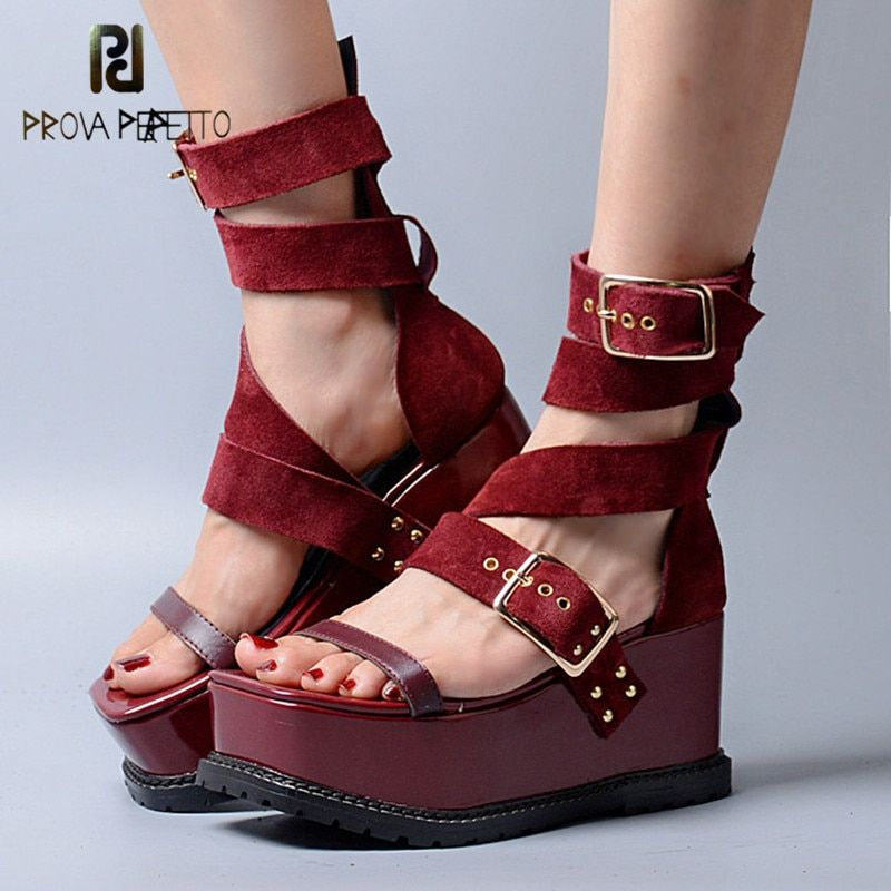 Prova Perfetto 2018 New Summer Peep Toe Sandals Korean Style Wedge Heels High Platform Shoes Thick Bottom Flat Open Toe Sandals