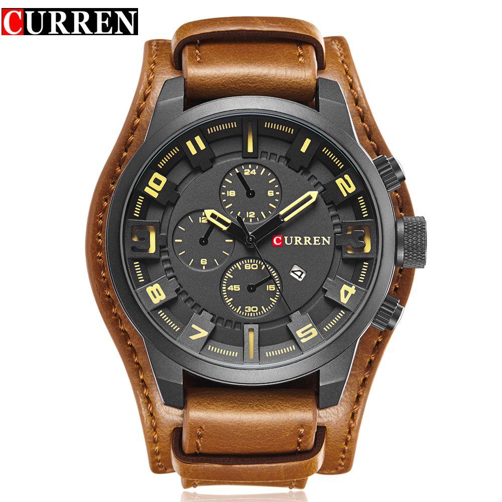CURREN Top Brand Luxury Quartz Watches Men's Sports Quartz-Watch Leather Strap Military Male Clock Fashion New Gift Relogio