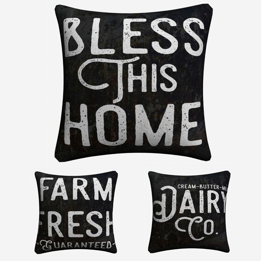 Cuisine ferme imprimable citation décorative coton lin housse de coussin 45x45 cm pour canapé chaise taie d'oreiller décor à la maison Almofada