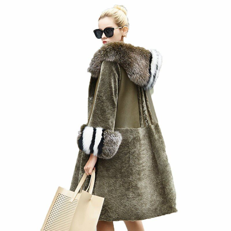 Winter Coat Women Clothes 2018 Real Fur Coat Sheep Shearling Fur Korean Fox Fur Hooded Double-faced Fur Wool Jacket ZT854