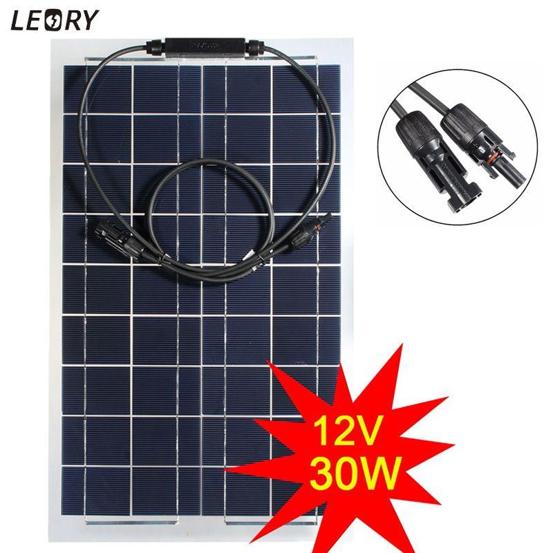 LEORY 30W 12V Monocrystalline Semi-flexible Solar Panel Solar Battery Cells DIY Power System Kit For RV Boat Camping +1m MC4