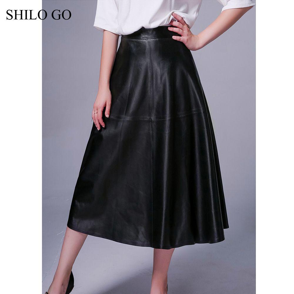 Шило Go кожаная юбка осень мода овчины Натуральная кожа юбка с высокой талией на молнии в сдержанном стиле винтажные линия черный длинная юб...