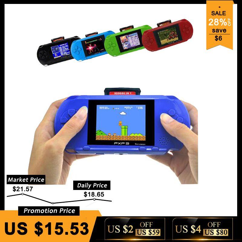 3 pouces 16 Peu PXP3 Mince Station jeux vidéo Lecteur De Poche Jeu Avec 2 pièces carte de jeu Console intégré 150 Jeux Classiques