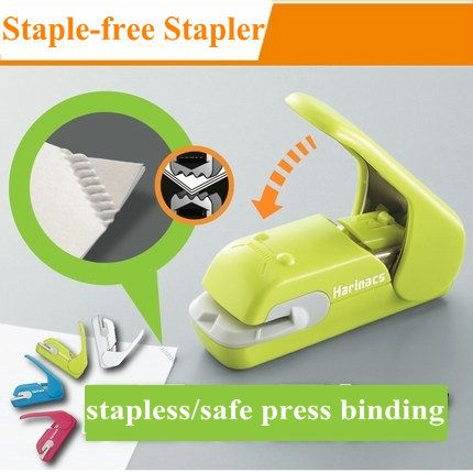 Caliente creativo Oficina Manual de Mini Grapadora Grapadora Libre de la Grapadora Grapadora Sin Grapas de Papel De Seguridad