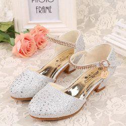 Anak Putri Sandal 2017 Baru Musim Panas Anak Perempuan Sepatu Pernikahan High Heels Gaun Sepatu Sepatu Pesta Untuk Anak Perempuan ukuran 28 ~ 37