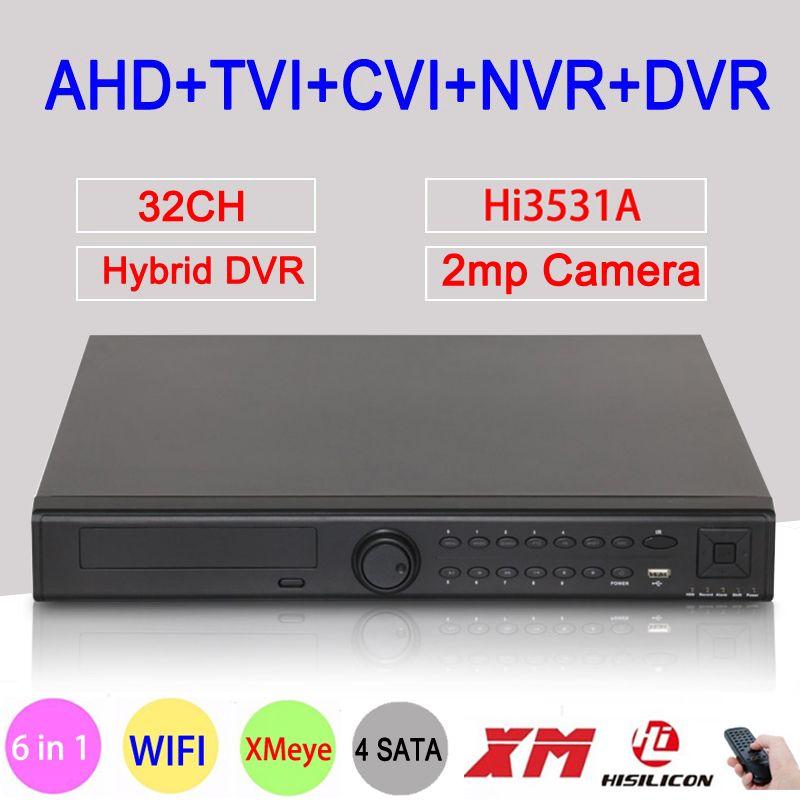 1080P CCTV Camera Hi3531A 32CH 32 Channel 4 SATA 6 in 1 1080N Hybrid Coaxial Wifi Onvif IP XVI NVR TVI CVI AHD DVR Free Shipping