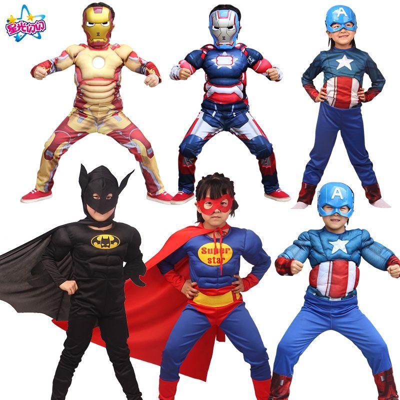 <font><b>Children</b></font> cartoon reality boy muscle superhero costume spiderman, batman superman iron man captain America avengers clothes