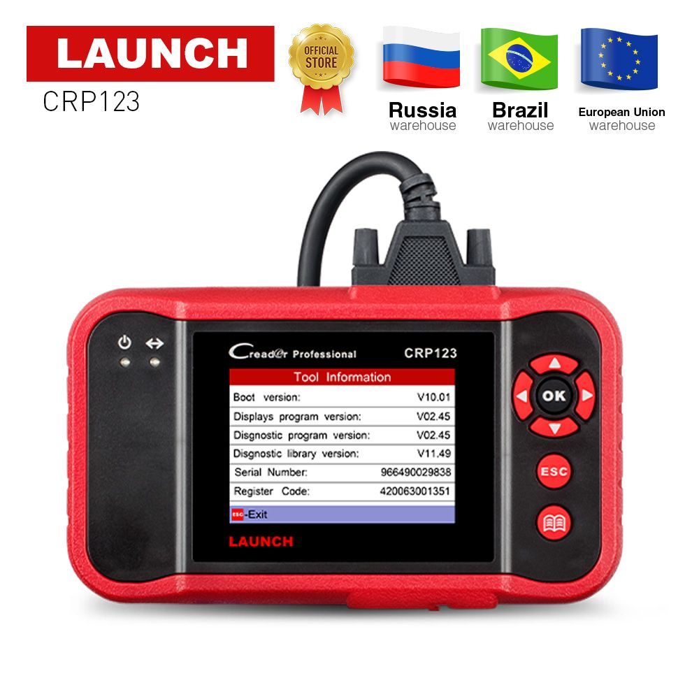 LAUNCH CRP123 OBD2 Code Reader Auto Diagnostic Tool X431 CRP 123 OBD 2 Scanner ABS/SRS/GearBox/Engine free update Creader VII+