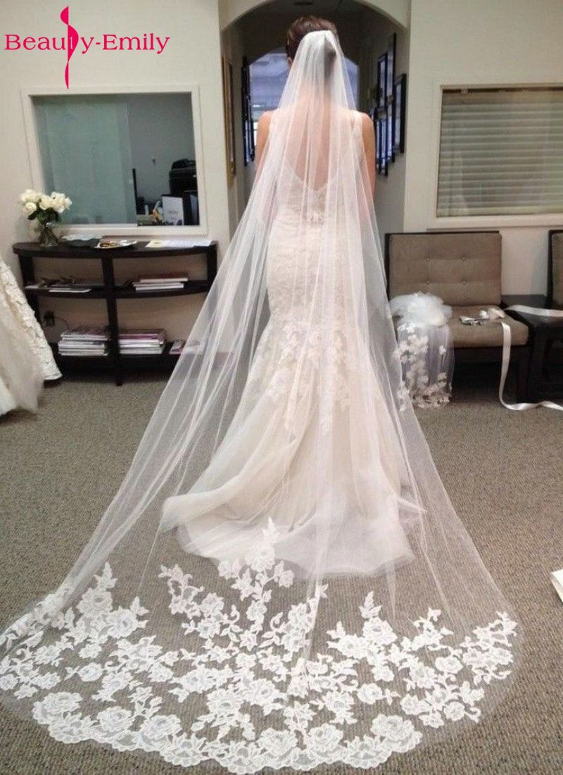 Beauty-Eemily Wedding Accessories 2017 Appliques Tulle Long Cathedral Wedding Veil Lace Edge Bridal Veil with Comb veu de noiva