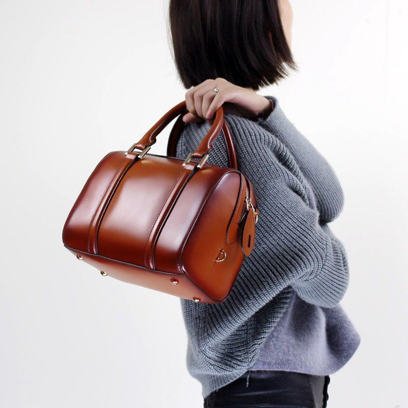 Kissen Mode Handtasche Aus Echtem Leder 2018 Frauen Top Griff Tasche Elegante Messenger Schulter Sling Tasche Büro Dame Hand Tasche