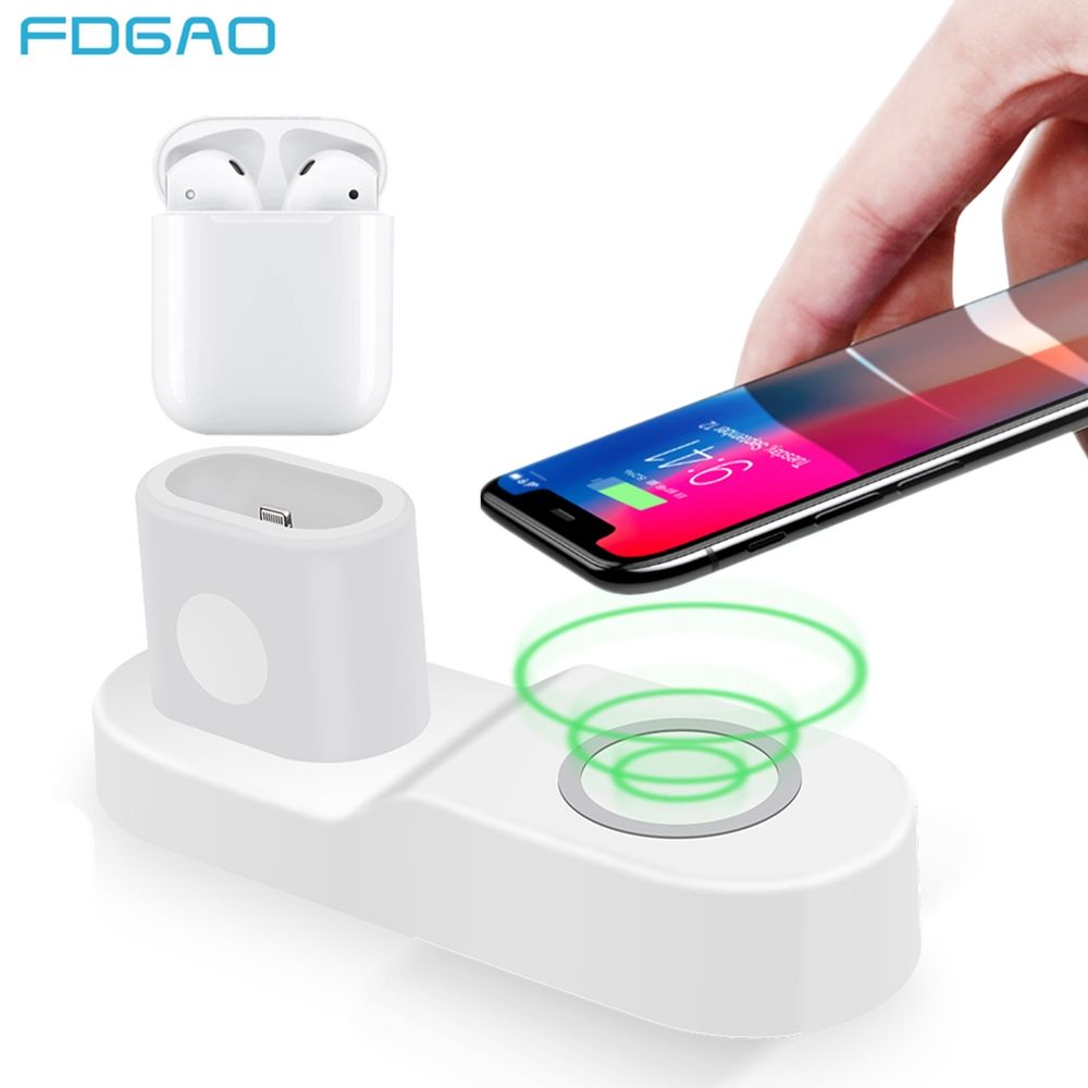 FDGAO 10W Fast Wireless Charger for iPhone 8 X XS Max XR USB Qi Charging Dock for Apple Watch 2 3 4 Airpods for Samsung S9 S8 S7