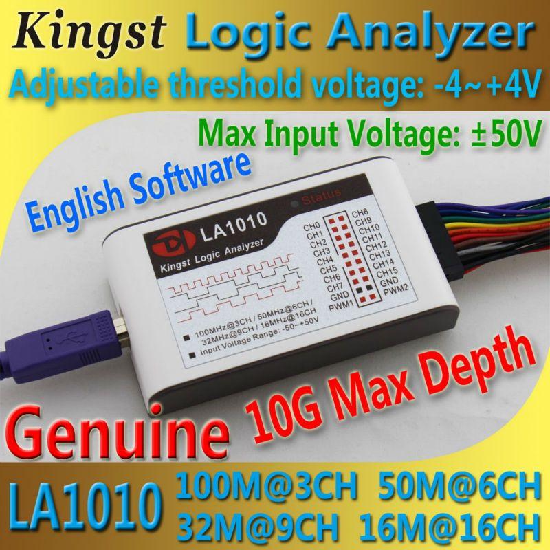 Kingst LA1010 USB Analyseur Logique 100 M taux d'échantillonnage max, 16 Canaux, 10B échantillons, MCU, BRAS, FPGA outil de débogage anglais logiciel