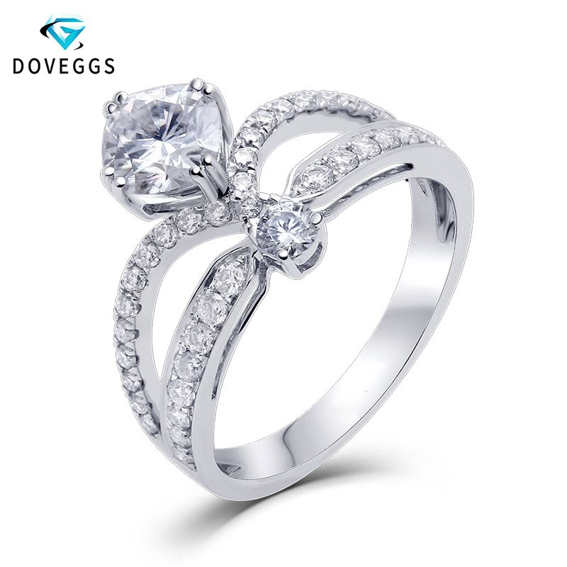 DovEggs Center 1ct 6MM Cushion Cut F Color Moissanite Solid 14K 585 White Gold Bridal Engagement Ring for Women with Accents