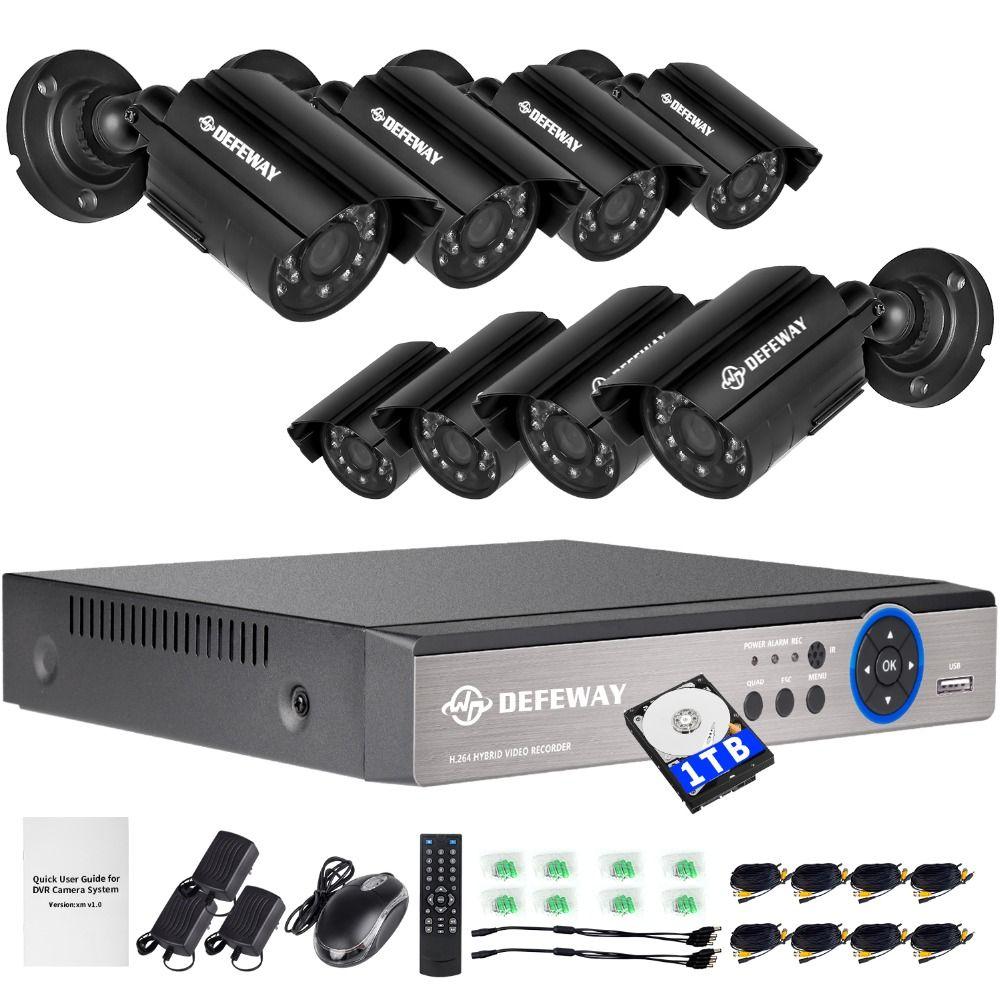 DEFEWAY 1200TVL 720P HD Outdoor Security Camera System 1TB Hard Drive 8 Channel 1080N HDMI CCTV DVR Kit 8CH AHD Camera Set
