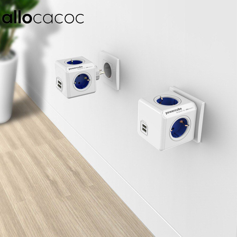 Allocacoc Power Strip Extension Conception Cube Socket UE Plug 4 Sorties Double Ports USB Adaptateur-6A 250