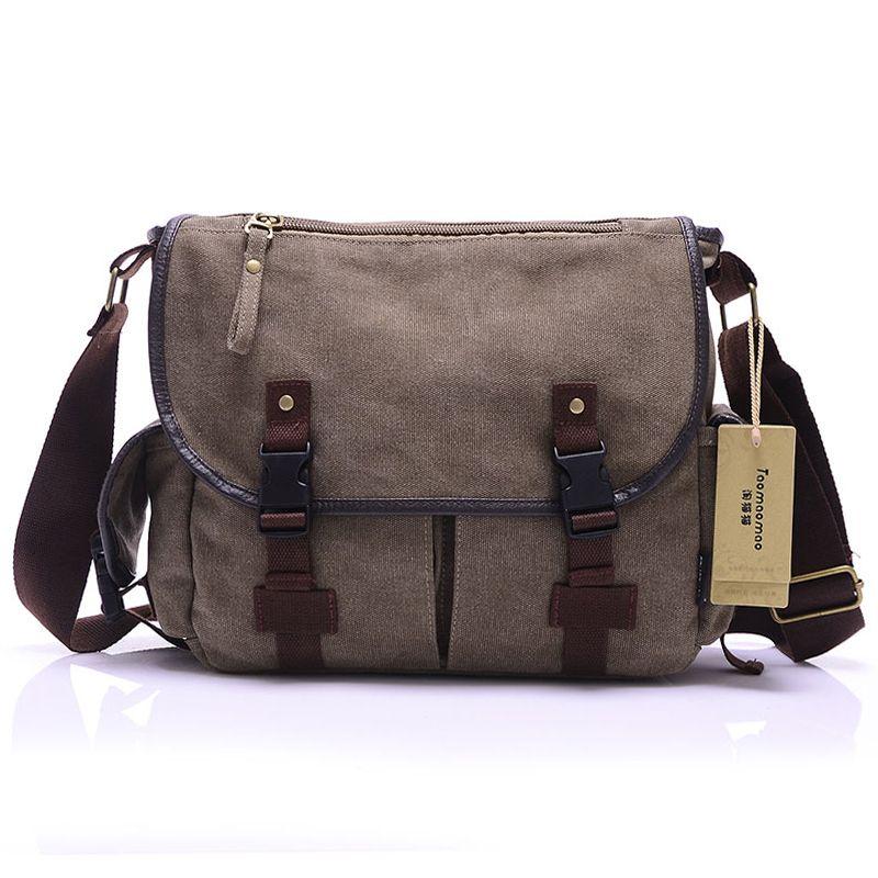 HOT! High Quality Canvas Bag Men's solid cover zipper casual shoulder school bags men crossbody bag Men Messenger Bags