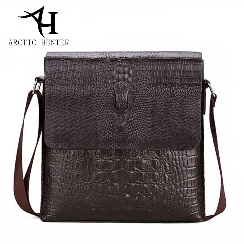 ARCTIC HUNTER Men Messenger bag male fashion small mens shoulder bags Crocodile pattern PU Leather Bag Business crossbody