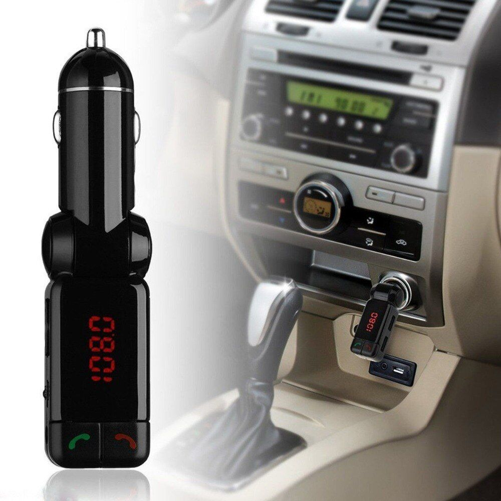 KWOKKER Car MP3 Audio Player FM Transmitter Bluetooth Wireless FM Modulator Car Kit HandsFree USB Charger for iPhone for Android