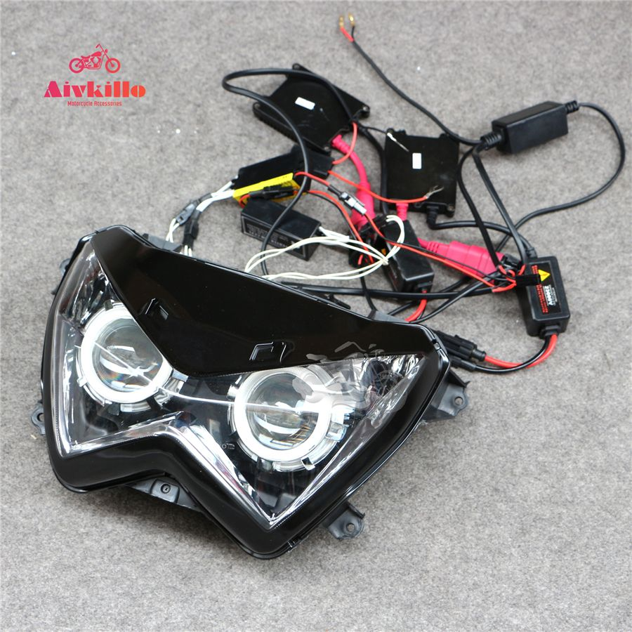 HID Blue Angel Eyes Headlight Headlamp Light bracket Upper Cowl Nose Fairing Fit For Kawasaki Z250 13-14-15 Z300