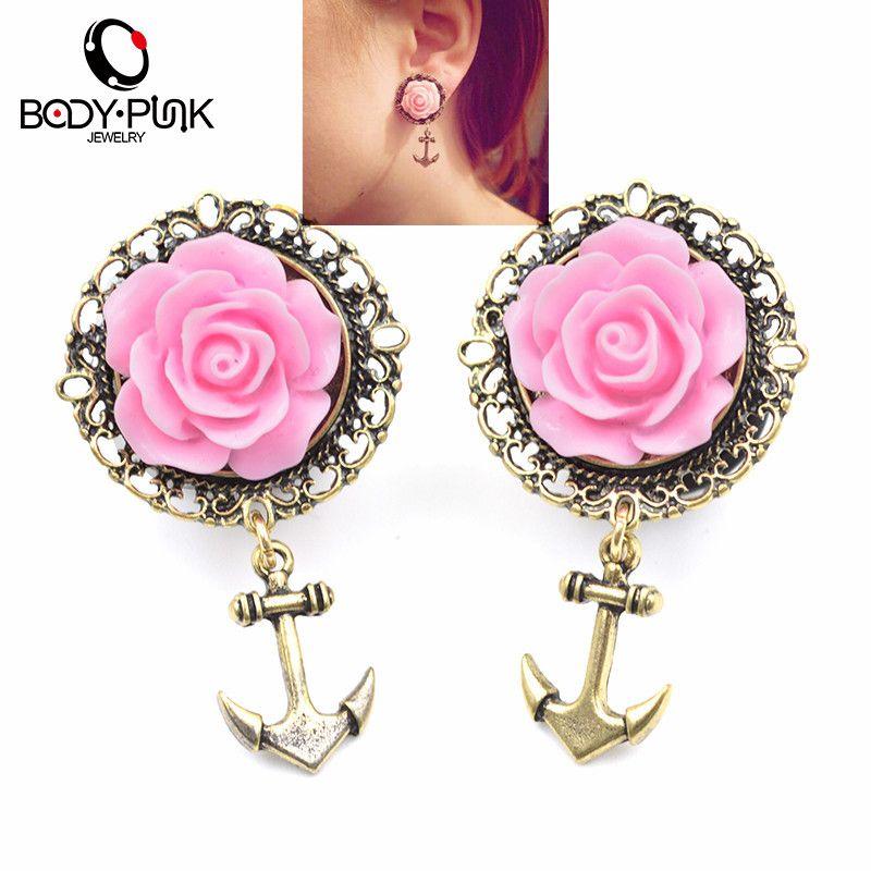 KÖRPER PUNK 2 Stücke 3D Rosa Rose Gold Anker Ohr Tunnel Ohrring Edelstahl Ear Plugs Messgerät Körperschmuck Pierceing 6-16mm PLG 002