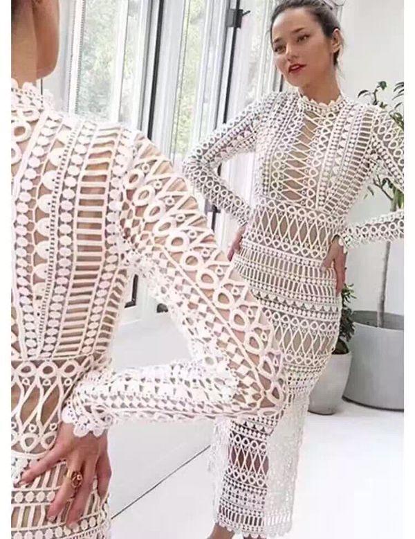 Robe midi livraison gratuite 2018 automne A slim deux pièces à manches longues beige blanc dentelle femmes piste décontracté fête élégant bal