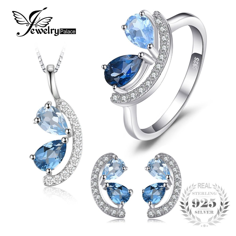 JewelryPalace 2.8ct Genuine Sky, London Blue Topaz Cluster Pendant Necklace Stud Earrings Ring Jewelry Sets 925 Sterling Silver