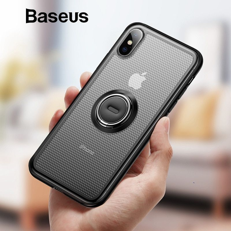 Baseus Kreative Telefon Fall Für iPhone Xs mit Ring-Halter-Stand Matte Fall Für iPhone Xs Max Xs XR 2018 für Magnetische Auto Halter