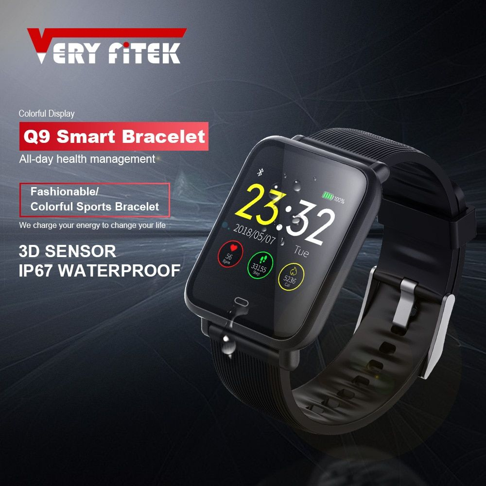 VERYFiTEK Q9 moniteur de fréquence cardiaque de pression artérielle montre intelligente IP67 étanche Sport Fitness Trakcer montre hommes femmes Smartwatch