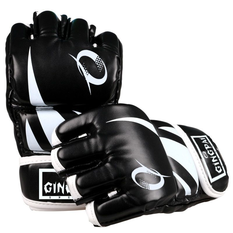 Half finger PU leather adult pro style MMA gloves Training Fighting Sparring Gloves Martial Arts muay thai kick boxing gloves