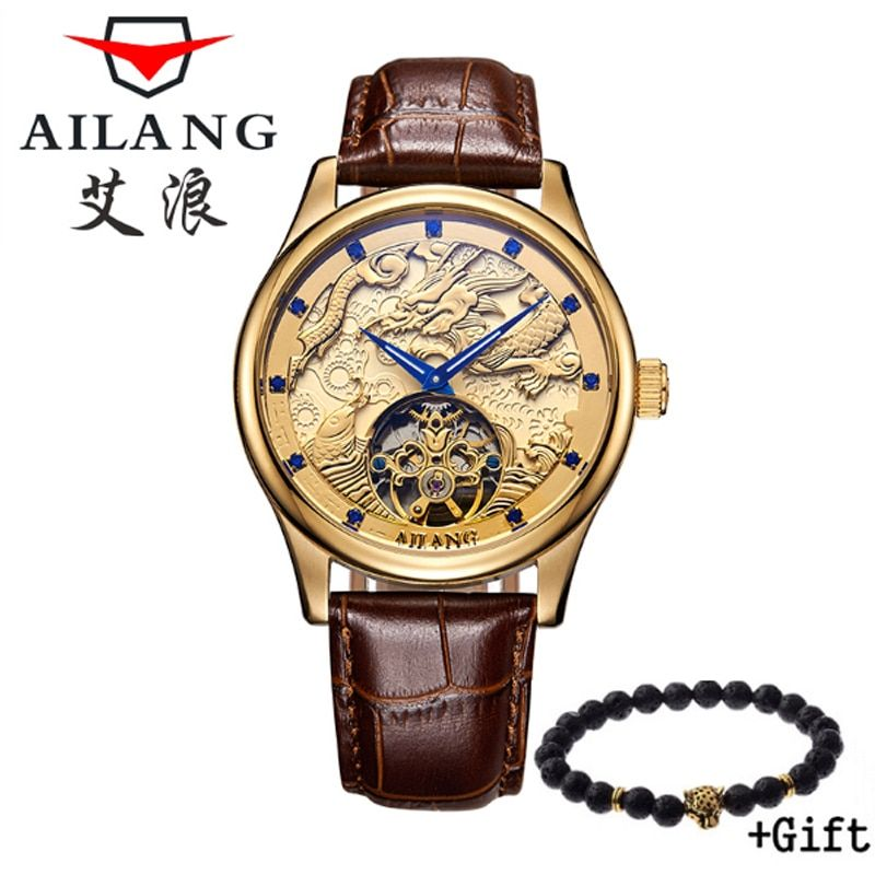 AILANG high quality watches Malone Memorial watches Tourbillon mechanical watch belt, men's gold watch