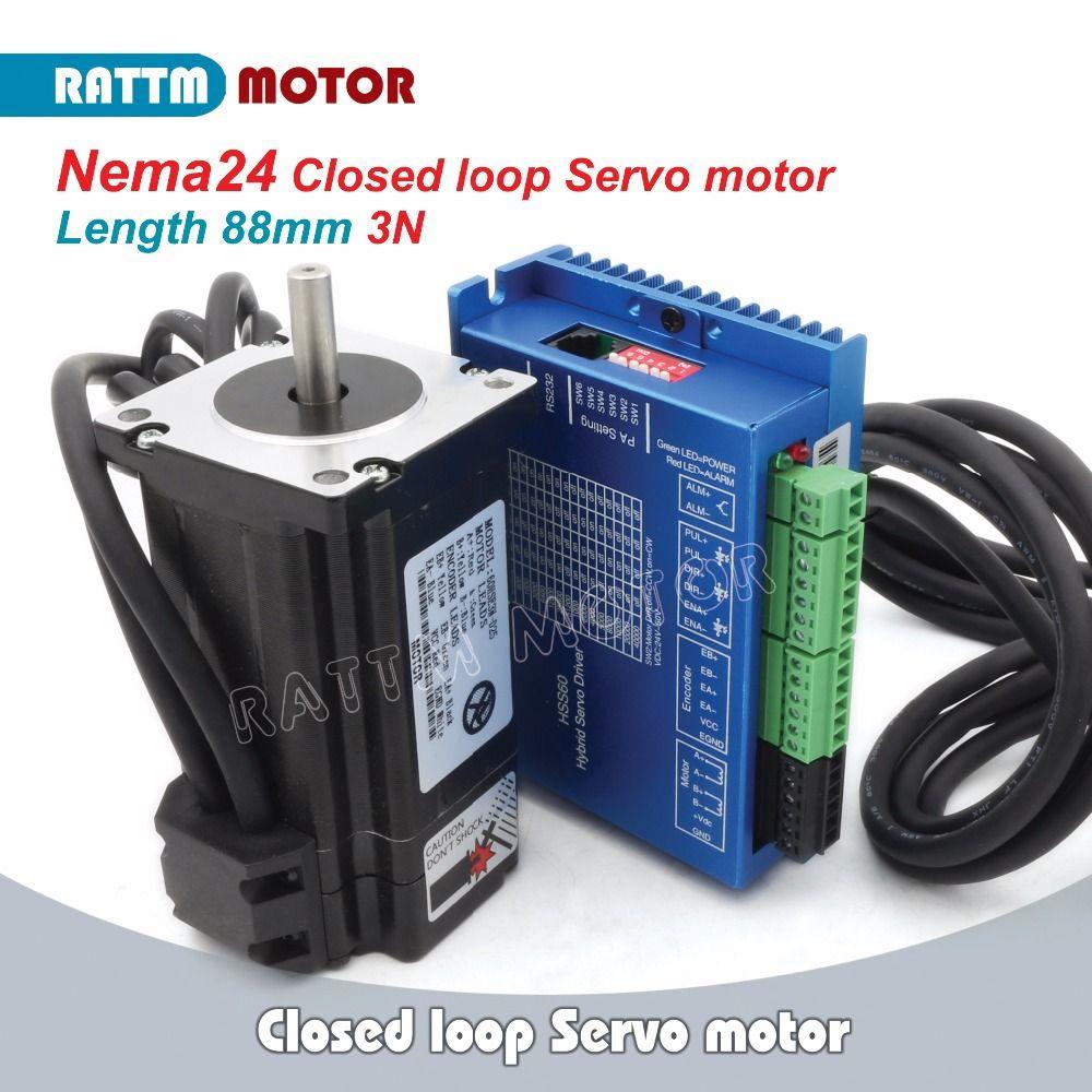 RUS/EU Lieferung! Nema24 Geschlossen-Schleife 3N. m Servo Motor Kits 5A 2-Phase & 2HSS60 Hybrid Schritt-servo Fahrer CNC Controller 6A