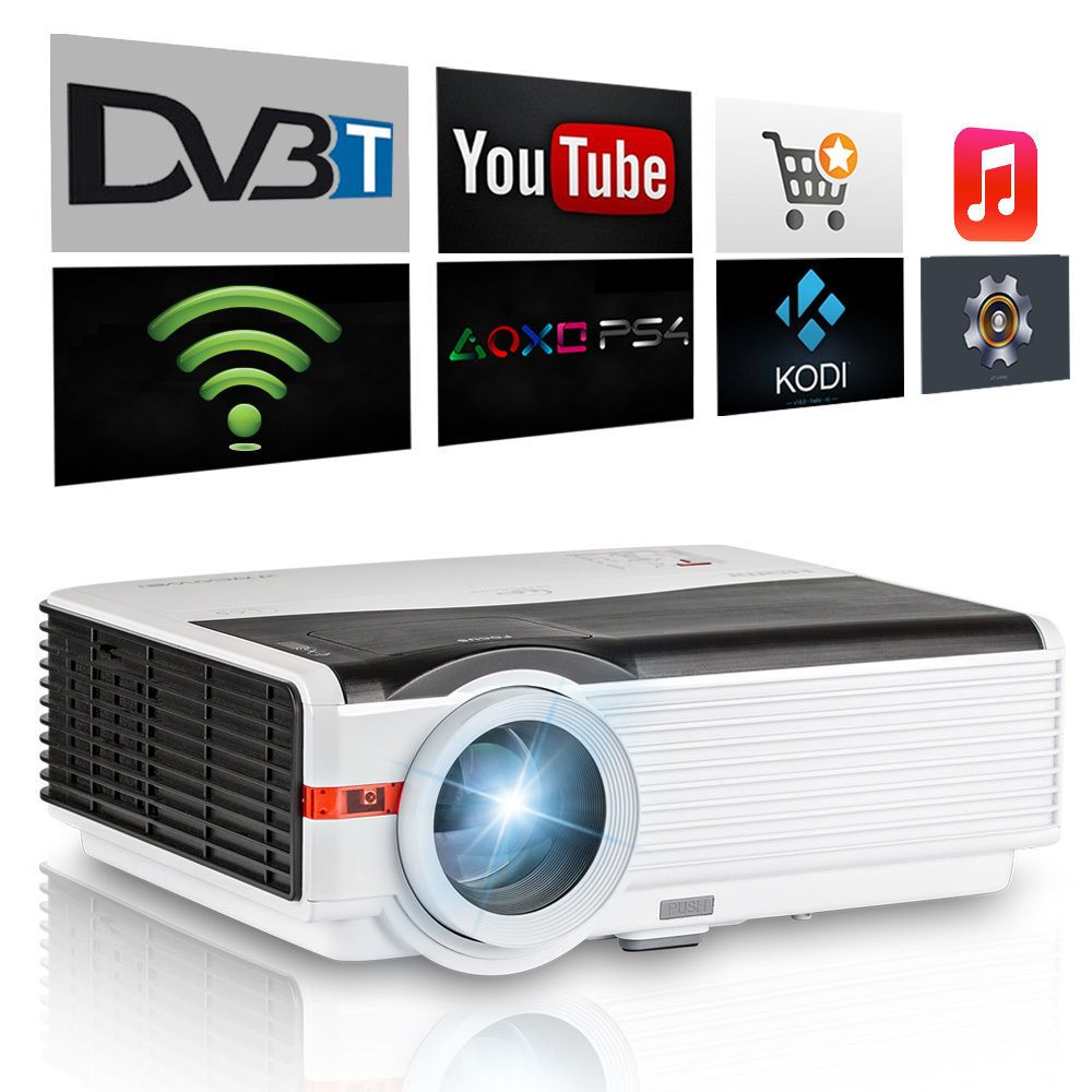 CAIWEI Built-in DVB-T2 TV Projector HDMI 1080p Home Theater Cinema Movie Game for Business School Education Proyector Beamer