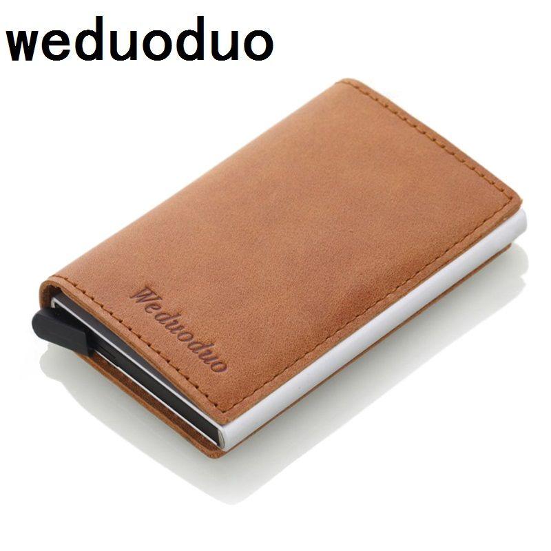 Weduoduo Для мужчин блокирование RFID кошелек мини Пояса из натуральной кожи Бизнес Алюминий кредитных держатель для карт кошелек автоматически...
