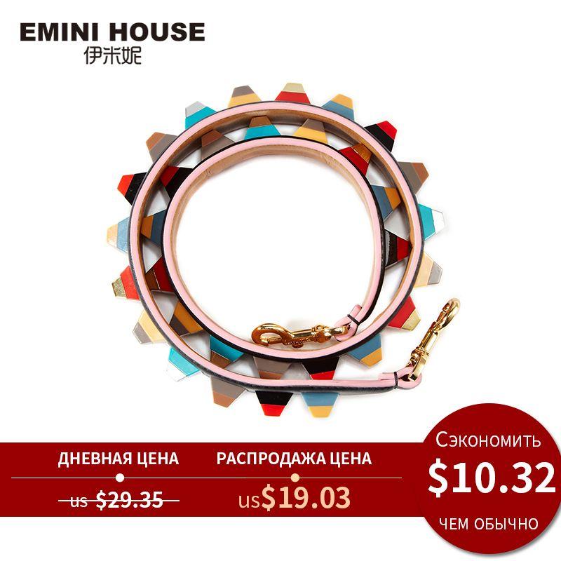 EMINI HOUSE bandoulière en cuir véritable coloré acrylique femmes sac sangle 89 cm * 4 cm