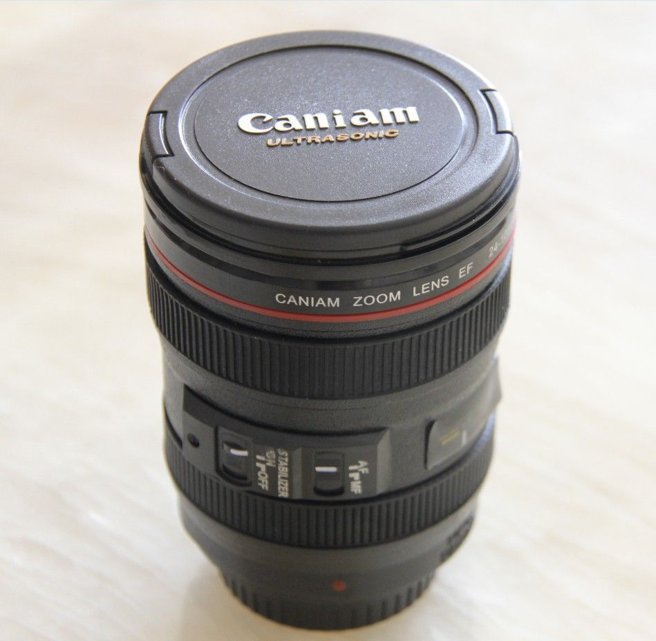 Nouveau café lentille émulation caméra tasse bière tasse vin avec couvercle tasse en plastique noir et Caniam Logo tasses tazas café